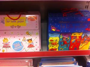"Norwegian children's books. The pink is for ""tough girls"", and the blue for ""tough boys""."